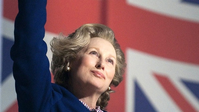 iron lady waving with flag